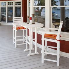 While the POLYWOOD Nautical 31 in. Bar Table is big on style, it's ideal for smaller, more intimate outdoor spaces. Pair it with a couple Nautical Bar Chairs and you'll have a warm and inviting happy hour setting for two. Built with genuine POLYWOOD Polywood Outdoor Furniture, Outdoor Bar Furniture, Furniture Ideas, Outdoor Bar Sets, Outdoor Dining Set, Outdoor Spaces, Outdoor Bars, Dining Sets, Patio Bar Table