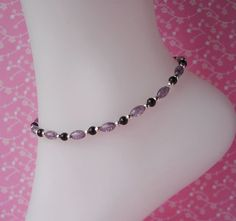 Purple Black & Silver Crackle Glass Beaded Stretch Anklet Ankle Bracelet by QueeniesJewelry on Etsy