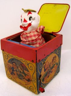 Mattel Jolly Tune jack-in-the-box. I had one of these as a kid; it was originally my mom's in the Pop Goes The Weasel, Jack In The Box, Toy Boxes, Bobble Head, Clowns, Nursery Rhymes, Childhood Memories, Toy Chest, Kids Toys