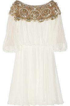 Embellished silk-chiffon dress