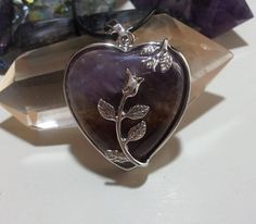 Amethyst Heart Necklace + Free Shipping Worldwide ~ crystal necklace, crystal jewelry, heart jewelry, crystal heart, heart flower necklace by OurArtyCreations on Etsy