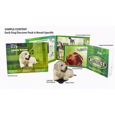 Dog Discover Pack includes 3d magnet, photos and more all in a pack you can mail like an oversized postcard!