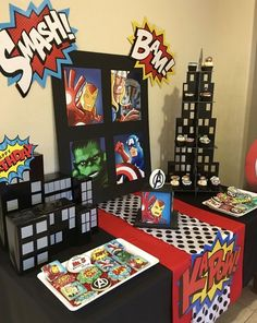 Pop art retro vintage avengers birthday superhero party desert table