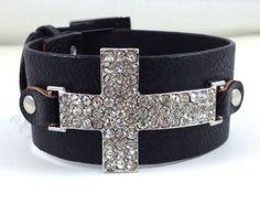 Black Leather Crystal Cross Bracelet - LAURALEEDS.COM