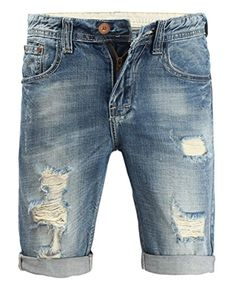 L'asher Stone-washed Short Jeans Demin Short Plus Size (US 28 = Asian Tag 29, Blue) - Brought to you by Avarsha.com