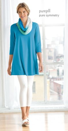 Pure jill ballet-sleeve tunic, capri leggings, pure jill thongs, and pure jill dip-dyed infinity scarf | www.jjill.com