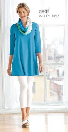 Pure jill ballet-sleeve tunic, capri leggings, pure jill thongs, and pure jill dip-dyed infinity scarf | www.jjill.com