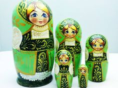 green Matryoshka dolls Matryoshka Dolls / Nesting Dolls : More Pins Like This At FOSTERGINGER @ Pinterest