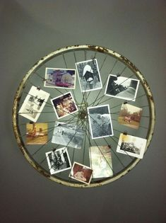 Old Bicycle Wheel Picture Frame. Turn an old bicycle wheel turned into a picture frame for your wall.