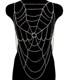 Webbed Body Chain.  Clear Crystals for center of web.  Gold plated.  Nickel and Lead Free.  Approx. 32 .  Please click picture above to zoom in closer