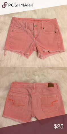 Pink American Eagle Shorts American Eagle Shorts. Pink, size 0, stretch, frayed ends, excellent condition American Eagle Outfitters Shorts Jean Shorts