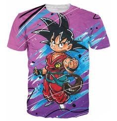 Cute Kid Goku Graffiti Painting 3D Dragon Ball T-Shirt - Saiyan Stuff
