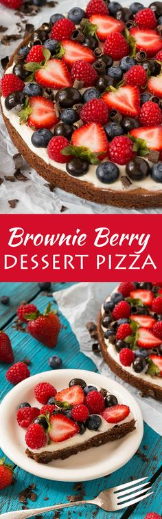 This brownie berry dessert pizza is the perfect sweet treat for any celebration! #DiscoverBrookside #Ad
