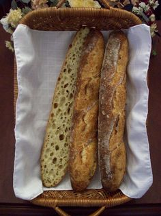 Beautiful baguettes using autolyse, an extended period of fermentation (22 hours!) and the slap and fold mixing technique.
