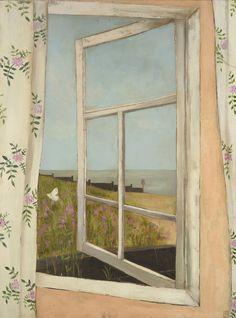 The Window, by Jo Oakley, mixed media on canvas, 82 x 62cm