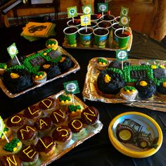 "John Deere birthday party! We also did dirt cups to go along with the ""dig it"" theme! The kids loved them!"