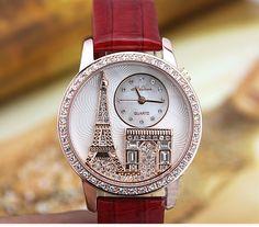 $ 80.99 Fantastic Golden Crystal Eiffel Tower Women's Fashion Watches #women watches #Fashion women watches #Cheap women watches