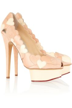 Charlotte Olympia Love Me heart-appliquéd leather and suede pumps NET-A-PORTER.COM