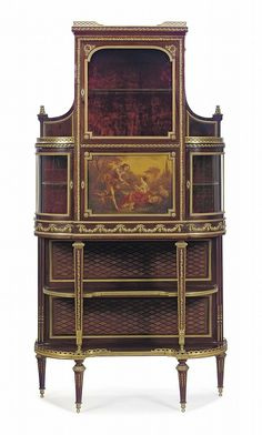 A FRENCH ORMOLU-MOUNTED KINGWOOD, MAHOGANY, PARQUETRY AND VERNIS MARTIN VITRINE-CABINET<br />BY FRANCOIS LINKE, INDEX NUMBER 75, PARIS, EARLY 20TH CENTURY <br />The galleried superstructure with a beveled glass door enclosing a velvet-lined interior, above a <i>vernis Martin</i> decorated cupboard door enclosing a single shelf, flanked by a pair of bowed glazed doors, above a floral-festooned frieze, on square tapering legs joined by two undertiers and a lattice backboard, on toupie feet…