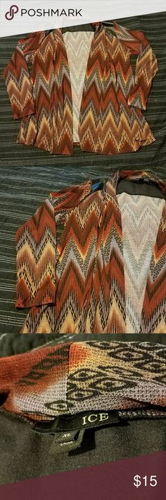 Chevron Cardigan Chevron Cardigan Brown, black, tan, orange & lavender color Black faux leather. Very soft Buckle Sweaters Cardigans