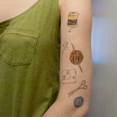 craft tattoos set of 7 by katebroughton on Etsy, £4.75   I want a real tattoo of the spool!