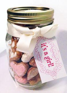 """It's a girl!"" mason jar gourmet dog treat. so cute - great gift!"