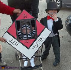 Creative Halloween Costumes - Uncle Pennybags and Go to Jail (use that baby stroller) kids and family group Halloween Monopoly game costumes