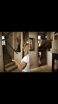I would love to have a private family room hidden this way. With better stairs of course.