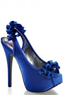 Navy Blue Ruffle Detailed Slingback Platform Heels Satin