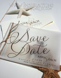 Rustic Beach Save The Date Invitations by InspirationsbyAmieLe