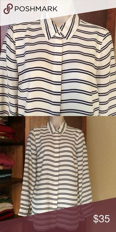 Longer style Navy and cream striped blouse Long sleeved, button front blouse, in navy and cream stripe. Longer style, cuffs and collar. Marked small but could also fit a medium, IMO. Like new condition. Talbots Tops Button Down Shirts