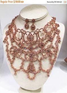 Bridal jewelry set Bridal choker bib statement by GlamDuchess