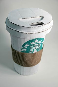 Cardboard sculpture of starbucks cup done by my daughter