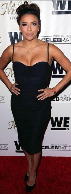 Who made  Eva Longoria's black corset dress?