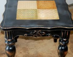 redo an old coffee table with scrapbook paper