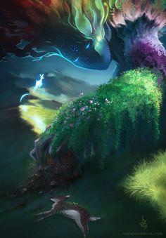 Nature - She cares lovingly - digital illustration by Vera Zowadova