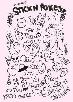 Fuck Yeah, Stick n' Poke! — I drew this up yesterday. Flash Art Tattoos, Body Art Tattoos, Leg Tattoos, Stick Poke Tattoo, Kritzelei Tattoo, Doodle Tattoo, Pretty Tattoos, Cute Tattoos, Tatoos