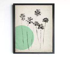 """California Palm Trees - Mint Modern Vintage Inspired Illustration - 8""""x10"""", 5""""x7"""", 9""""x12"""" or 11""""x14"""" by LunaReef on Etsy https://www.etsy.com/listing/155906877/california-palm-trees-mint-modern"""
