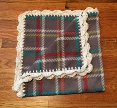 Gray Plaid Baby Blanket, fleece baby blanket, crochet edge baby blanket, crochet baby blanket, fleece blanket, crochet blanket by StitchesBySullivan on Etsy
