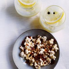 Fizz and pop: gin lemonade and fennel seed and pancetta popcorn.