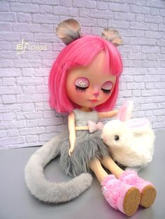 """Ooak Custom Blythe doll """"Miss Mouse"""" - with magnetic ears and tail, fluffy bunny and display"""