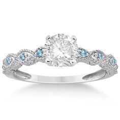 Vintage Marquise Blue Topaz Engagement Ring 18k White Gold (0.18ct)-Allurez.com