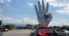 The Rabi'a sign Body Gestures, Catholic University, Muslim Brotherhood, National Symbols, First Nations, Statue, Signs, Homeland, June