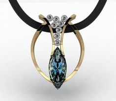 Aquamarine and Gold Pendant Necklace - Harry Roa Collection