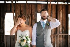 Cute First Look Picture - Blest Photography - NC Wedding Planner - Orangerie Events