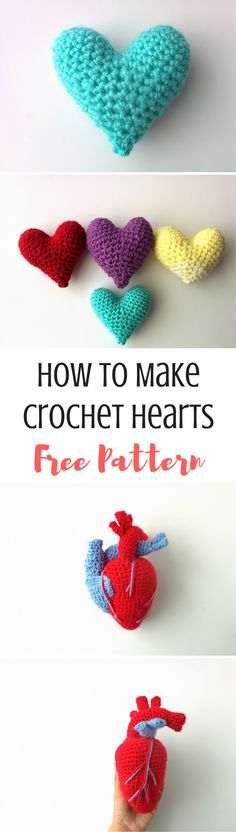 How to crochet hearts for Valentine's day! Make the cute, cartoony heart or challenge yourself and make the realistic one! Either way, these crochet heart patterns are perfect!