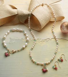 Moonlight & Roses Collection - handcrafted jewelry glowing with freshwater pearls, apatite and faceted ruby, lovely as red roses.