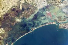Venice Lagoon A narrow barrier island protects the Lagoon of Venice from storm waves in the northern Adriatic Sea, & breakwaters protect inlets to the lagoon. Red tiles on the roofs of Venice contrast with the grays of the sister city of Mestre, & the cities are joined by a prominent causeway. Learn More http://www.nasa.gov/content/venice-lagoon/#.U4yY15RdVm4