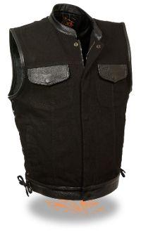 Denim And Lace, Black Denim, Black Leather, Mens Puffer Vest, Motorcycle Vest, Motorcycle Clubs, Leather Company, Leather Vest, Leather Jackets