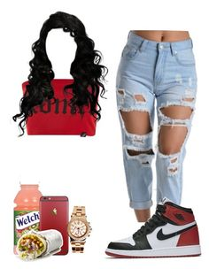 """basic"" by lanadabest on Polyvore featuring Illustrated People, NIKE and Boohoo"
